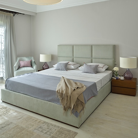 Panel Bed with Upholstered Bed Base