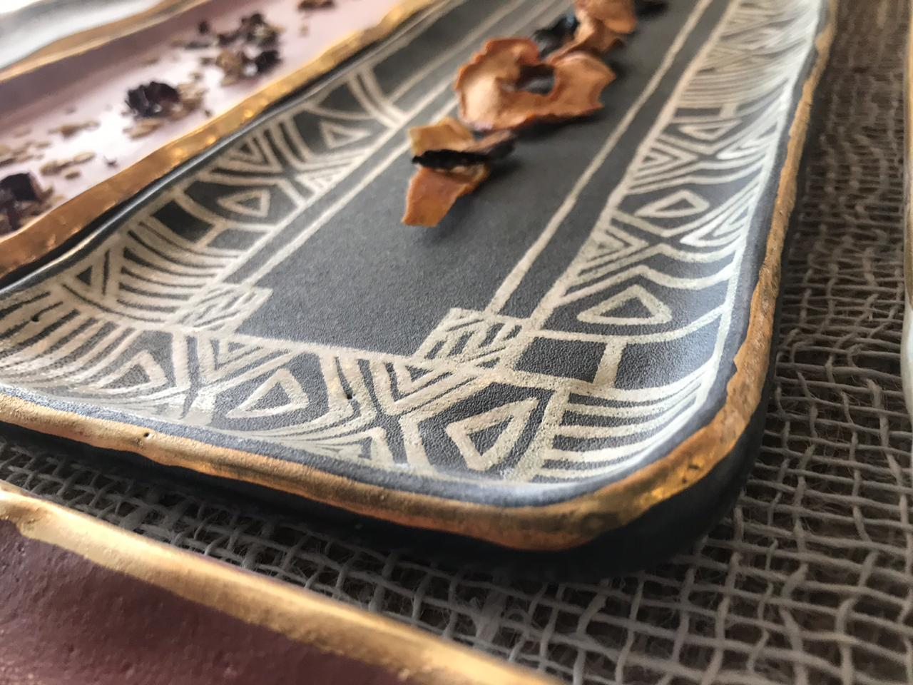 Pattern & Gold Rim Platter