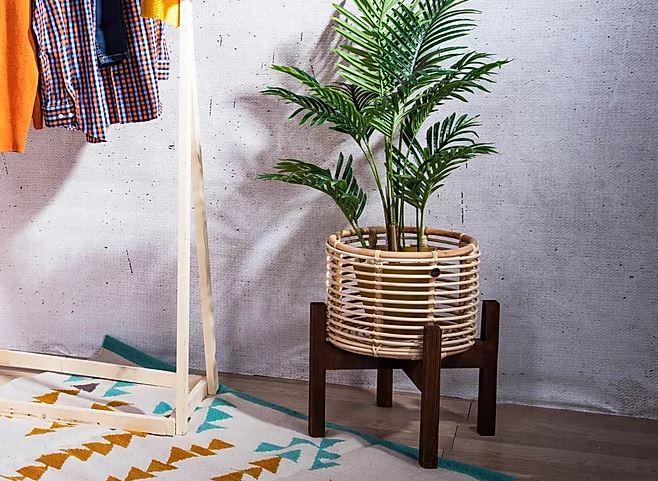 Wood Wicker Planter