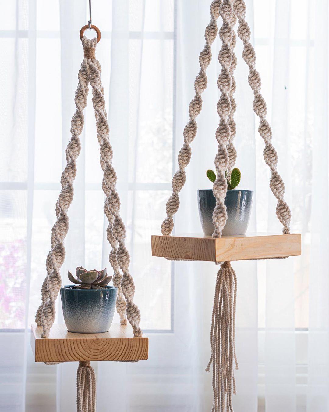 Hanging Wooden Shelf Macrame + Plant