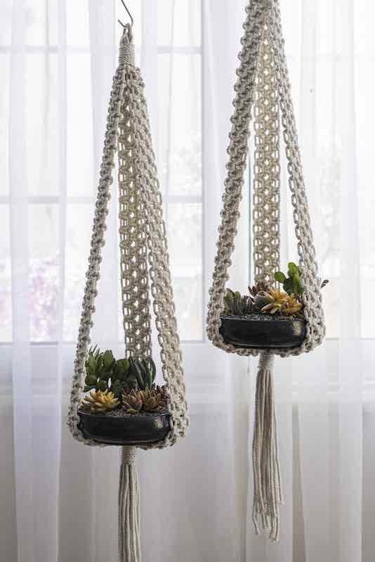 Flat Bowl Pot Macrame Holder with Plant