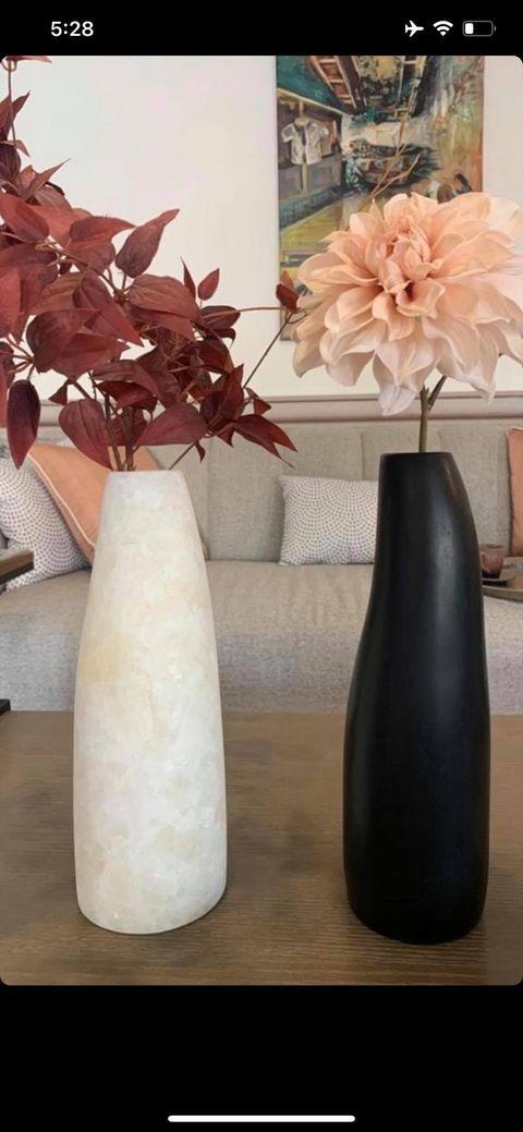 Albaster (+) black vases (-)