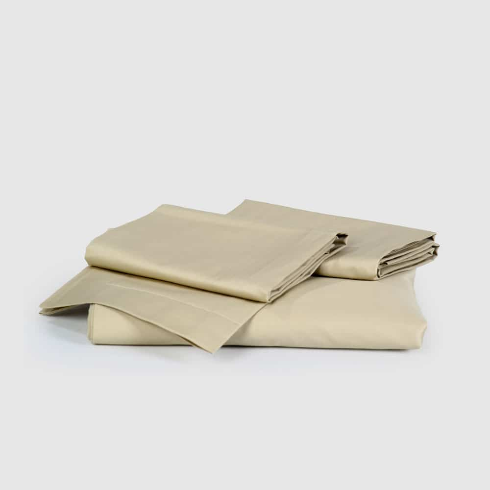 Light Beige Sateen Fitted Flat Sheet Set