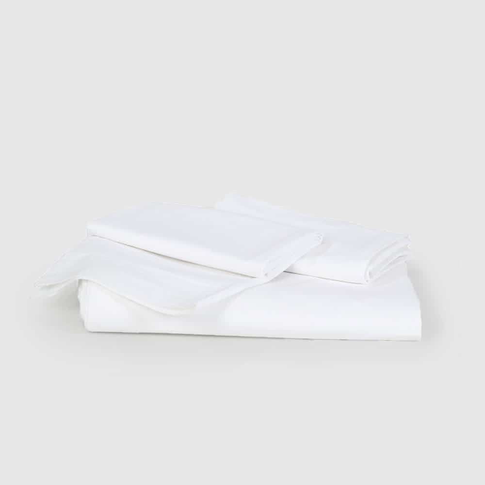 Pure White Sateen Fitted Flat Sheet Set